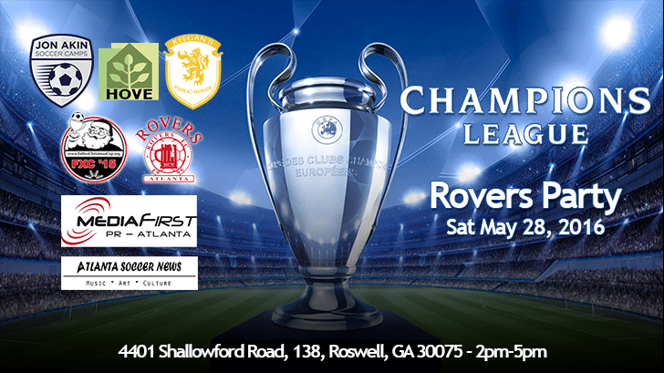 partyflyer ATLANTA ROVERS CHAMPIONS LEAGUE PARTY
