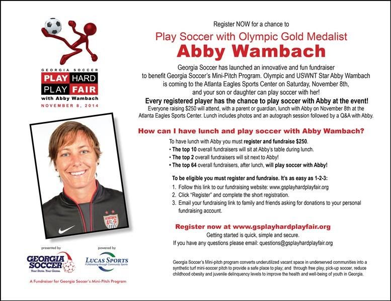 45 EVENT ALERT: FUNDRAISER FOR GEORGIA SOCCER'S MINI-PITCH PROGRAM WITH AMY WAMBACH